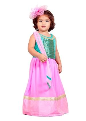 Blue and pink lehenga choli