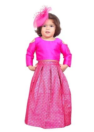 Pink Banarasi skirt and crop top