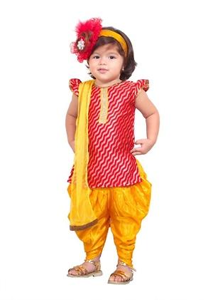 Red and yellow dhoti salwar and kurta