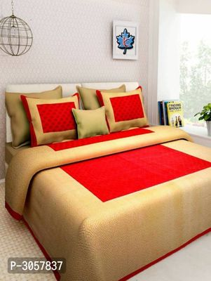 NEW COTTON DOUBLE BED PRINTED BEDSHEET WITH PILLOW COVERS