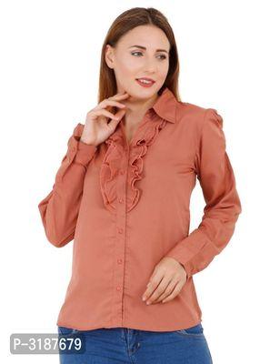 Women Rust Orange Solid Full Sleeves Shirt Style Top
