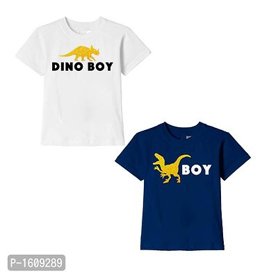 White and Navy Blue Dino Boy Text Printed Cotton T Shirts