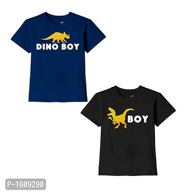 Navy Blue and Black Dino Boy Text Printed Cotton T Shirts