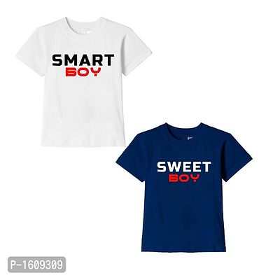 White and Navy Blue Smart Boy Sweet Boy Text Printed Cotton T Shirts