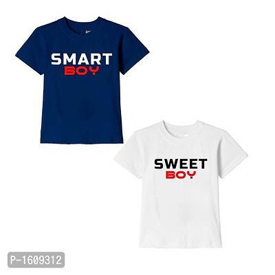 Navy Blue and White Smart Boy Sweet Boy Text Printed Cotton T Shirts