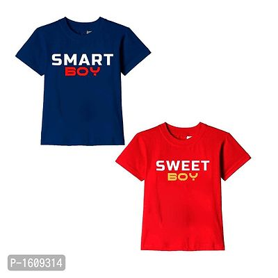 Navy Blue and Red Smart Boy Sweet Boy Text Printed Cotton T Shirts