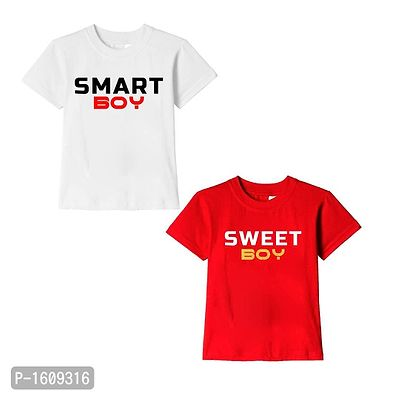 White and Red Smart Boy Sweet Boy Text Printed Cotton T Shirts