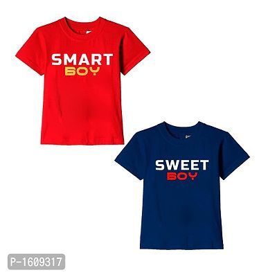 Red and Navy Blue Smart Boy Sweet Boy Text Printed Cotton T Shirts