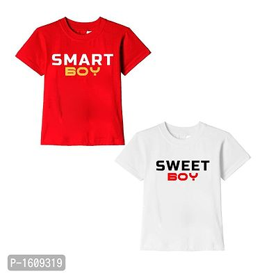 Red and White Smart Boy Sweet Boy Text Printed Cotton T Shirts