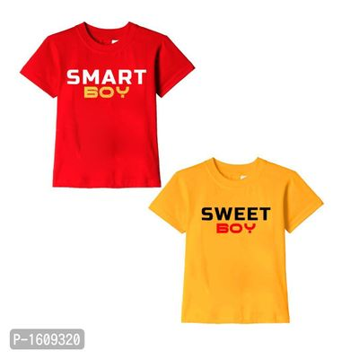 Red and Golden Yellow Smart Boy Sweet Boy Text Printed Cotton T Shirts