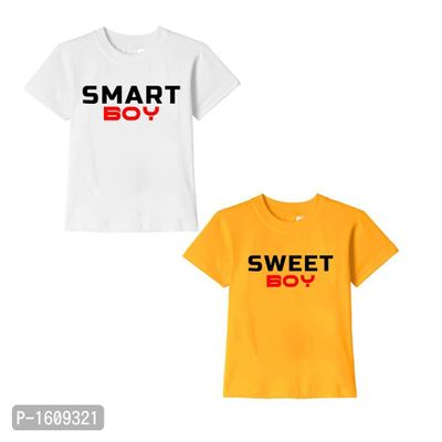 White and Golden Yellow Smart Boy Sweet Boy Text Printed Cotton T Shirts