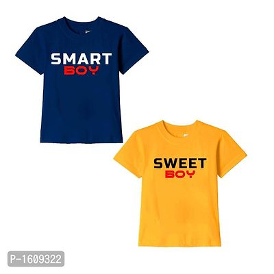 Navy Blue and Golden Yellow Smart Boy Sweet Boy Text Printed Cotton T Shirts