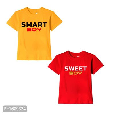 Golden Yellow and Red Smart Boy Sweet Boy Text Printed Cotton T Shirts