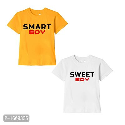 Golden Yellow and White Smart Boy Sweet Boy Text Printed Cotton T Shirts