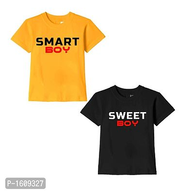 Golden Yellow and Black Smart Boy Sweet Boy Text Printed Cotton T Shirts