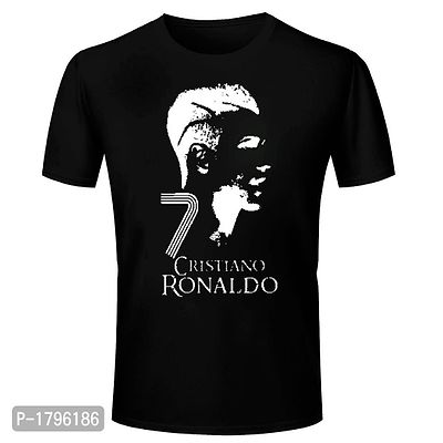 Black Cristiano Ronaldo Cr7 Football Design Graphics Print T Shirt