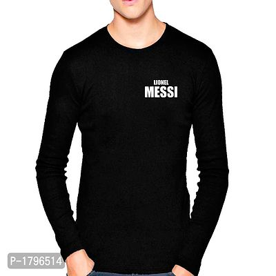 Black Lionel Messi Football Design Graphics Print T Shirt