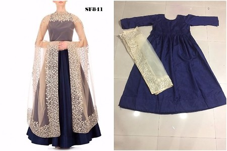 SF841-NAVY BLUE GOWN WITH NET DUPATTA