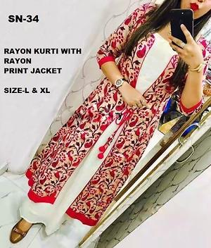 Off white color Rayon Kurti with Printed Jacket