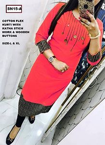 Red Color Cotton Flex Kurti With Katha Work & Wooden Buttons