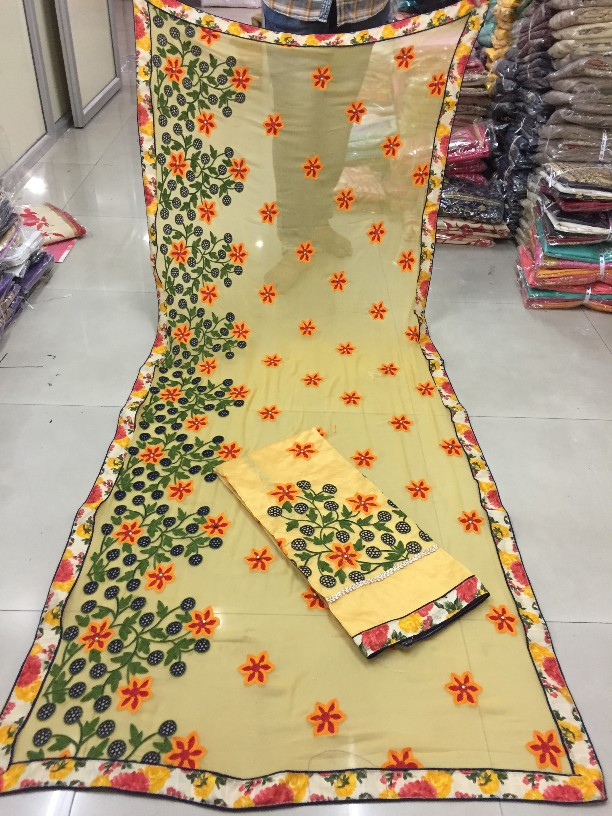 Yellow color unstitched chanderi salwar suit dupatta material