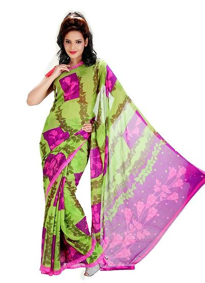 Printed Georgette saree with blouse