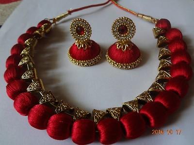 silk thread necklace set
