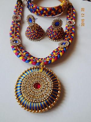 hand made silk thread jewellery set