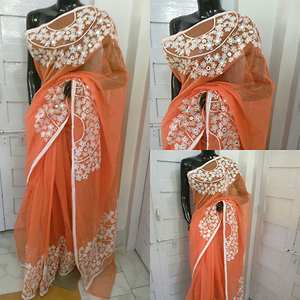 Supernet Aari work Saree with blouse