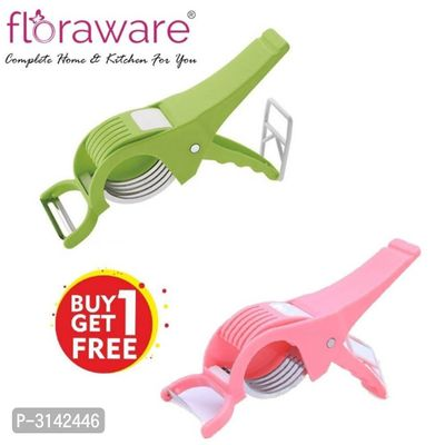 Floraware Plastic Vegetable Cutter with Peeler, Set of 2, Multicolour