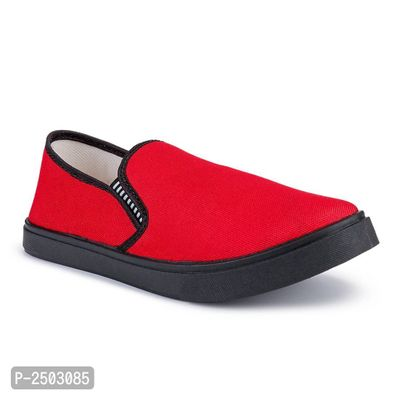 Red Canvas Casual Shoes