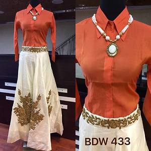 desiger tug in shirt with heavy machine and hand work skirt.with neckpiece