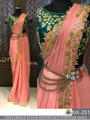 DS NO.  :  NX-251  PALLU / SCUTT  :  CHANDERI SILK BLOUSE  :  BENGLORI SILK   WORK  :  FANCY THREAD WORK  TYPE  :    SAREES