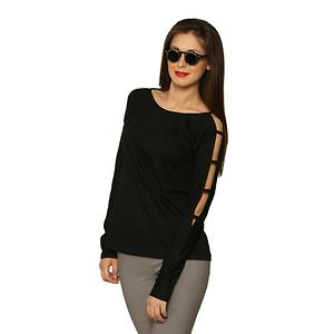 Black Round Neck Full Cut Out Sleeves Top
