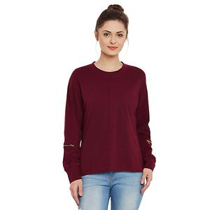 Maroon Solid Round Neck Full Sleeves Top