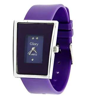 Purple rectangular dial with purple straps watch for women
