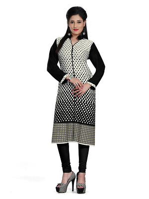 Cambric Cotton Black Stripe Print Stitched Straight Kurti