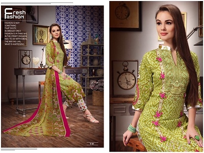 Embroidered cotton satin suits
