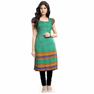 Denim Sulitical Heavy Printed Latest Women's Daily Wear Printed Cotton Kurti Material