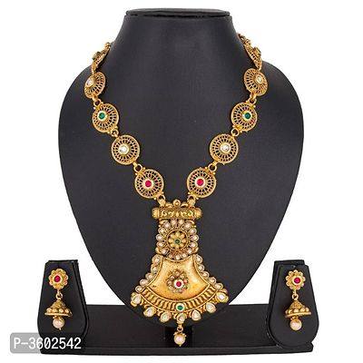 Designer Full of Golden Long Pendant Necklace Set NK-250
