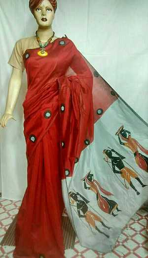 hand painted  Material : cotton silk painting work   Various motifs available  Blouse contrast available   9037236840