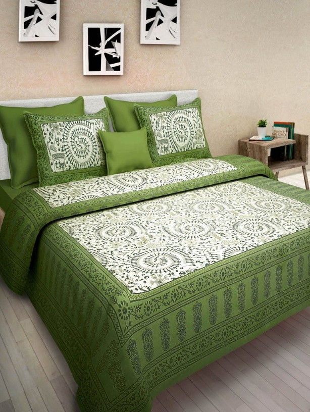 Mayuri Cotton Jaipuri Traditional 100% Cotton King Size Bed Sheet With 2 Pillow Covers.