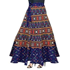 Women's Rajasthani Traditional Multicolor 100% Cotton Wrap Around Skirt.