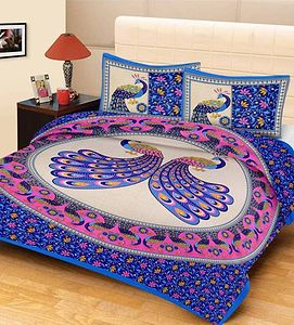 Blue Rajatshani Traditional King Size Bed Sheet With 2 Pillow Covers.