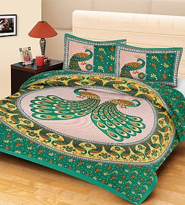 Rajatshani Traditional King Size Bed Sheet With 2 Pillow Covers.