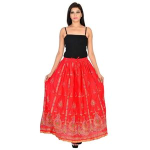 Cotton Gold printed long Skirt for Women's-Red.