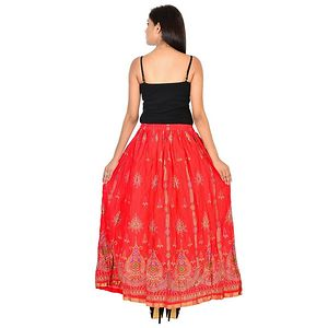 Cotton Gold printed long Skirt for Girls/Women's-Red.