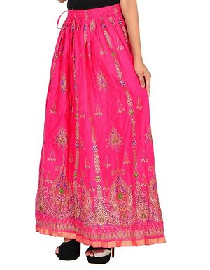 Cotton Gold Printed Long Skirt For Girls/Women's-Pink.