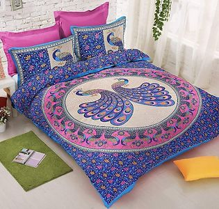 Cotton Rajasthani Jaipuri Traditional Print Double Bedsheet with 2 Pillow Cover.