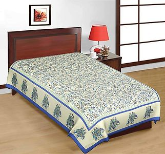 Blue Rajasthani Print Single Bedsheet Without Pillow Covers.